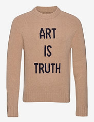 Zadig & Voltaire - PHIL MW ART IS TRUTH PULL INTARSIA DEVANT - rund hals - beige - 0