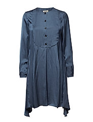 rheal satin robe - BLUE OF GREY