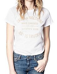 Zadig & Voltaire - ZOE BLASON GLITTER COTTON T-SHIRT - t-shirts - white - 0