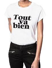 Zadig & Voltaire - WOOP TOUT VA BIEN COTTON T-SHIRT FLOCK - t-shirts - white - 0