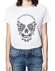 Zadig & Voltaire - ZOE SKULL VOLTAIRE COTTON T-SHIRT PRINT/ EMBROIDER - t-shirts - white - 0