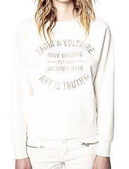 Zadig & Voltaire - UPPER BLASON BRODE TONAL EMBROIDERED COTTON SWEATS - sweatshirts & hættetrøjer - ivory - 0