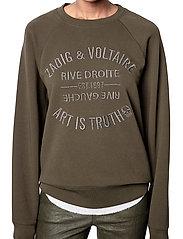 Zadig & Voltaire - UPPER BLASON BRODE TONAL EMBROIDERED COTTON SWEATS - sweatshirts & hættetrøjer - khaki - 0