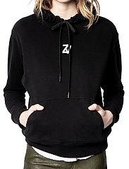 Zadig & Voltaire - SPENCER PHOTOPRINT COTTON HOODIE - sweatshirts & hættetrøjer - black - 0