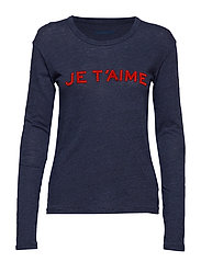 WILLY CHINE OVERDYED JE T'AIME T-SHIRT ML COT/VISC - NAVY BLUE