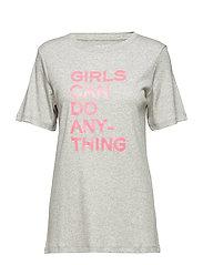 BELLA TEE-SHIRT COTON INTERLOCK PRINT GIRLS CAN DO - MELANGE GREY