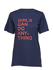 BELLA TEE-SHIRT COTON INTERLOCK PRINT GIRLS CAN DO - NAVY BLUE
