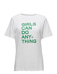 BELLA TEE-SHIRT COTON INTERLOCK PRINT GIRLS CAN DO - WHITE