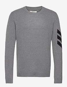 KENNEDY C ARROW SWEATER CASHMERE INTARSIA - basic strik - grey