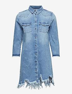 relma denim robe avec bord franc - BLUE