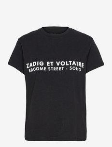 ZOE ZV ADDRESS ORGANIC PRINTED T-SHIRT - t-shirts - black