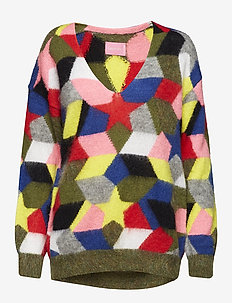DIANE MO PULL INTARSIA RACING - MULTICOLORED
