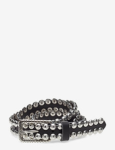 sea vegetal leather + studs - BLACK