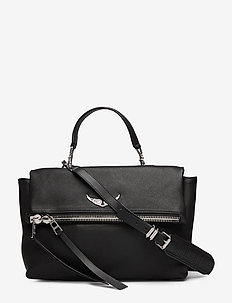 twin's zip smooth lambskin / vegetal leather - BLACK