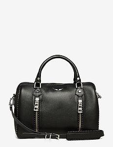 sunny medium grained leather + studs - BLACK