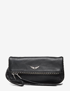 rocky clutch  grained leather + studs spi - BLACK