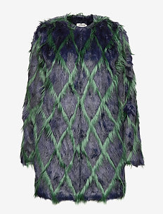 louisy coat fake fur arlequin patern - NAVY