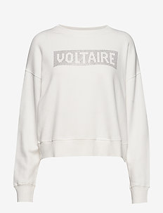 hany voltaire strass cotton sweatshirt - ECRU