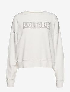 hany voltaire strass cotton sweatshirt - ECRU