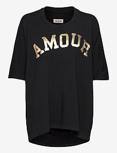 PORTLAND AMOUR SHORT SLEEVED CO/ MODAL SWEATSHIRT - t-shirts - black