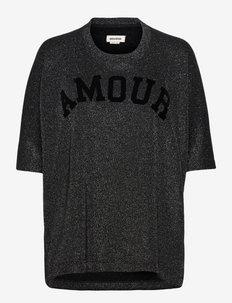 PORTLAND AMOUR GLITTER SWEATSHIRT - t-shirts & tops - black
