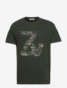 TOMMY NEW ZV BLASON CAMOU T-SHIRT - t-shirts - khaki