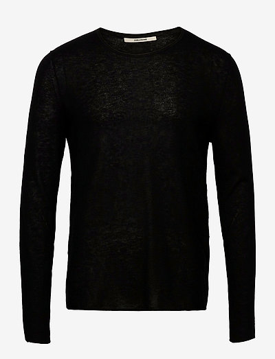 TEISS CP LONG SLEEVED SWEATER FEATHER CACHEMIRE - basic strik - black