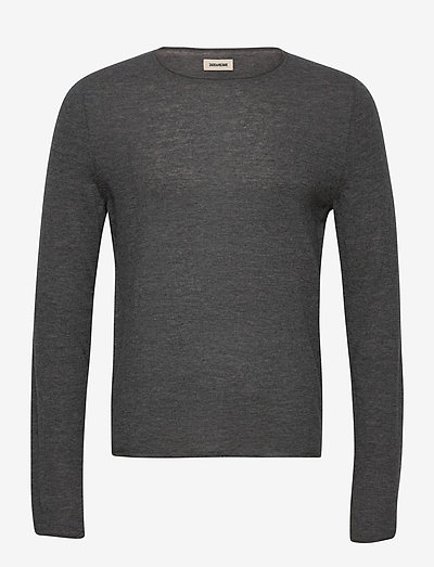 TEISS CP LONG SLEEVED SWEATER FEATHER CACHEMIRE - basic strik - grey