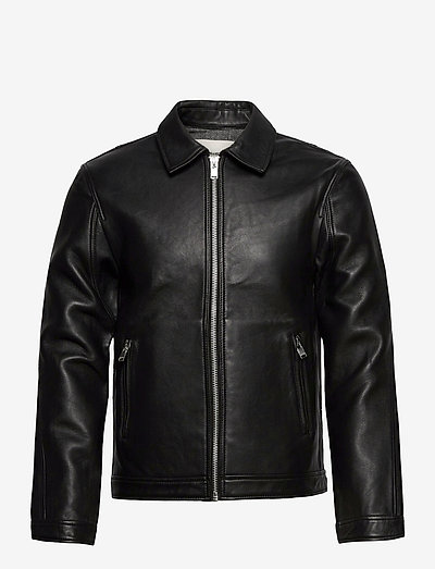 LUK BONDED LEATHER JACKET - nahkatakit - black