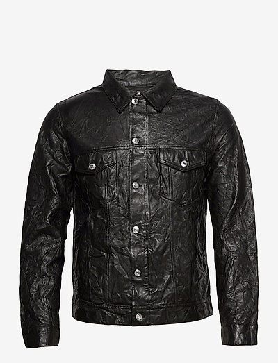 BASE CRINKLE LEATHER BLOUSON - nahkatakit - black