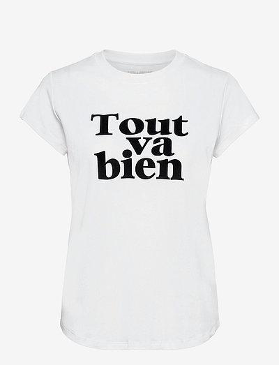 WOOP TOUT VA BIEN COTTON T-SHIRT FLOCK - t-shirts - white