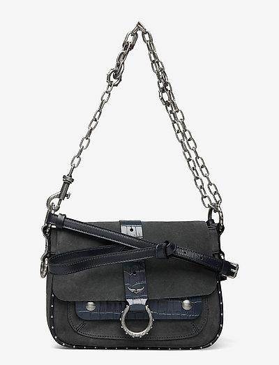 KATE SUEDE + EMBOSSED CROCO - väskor - bleu de gris