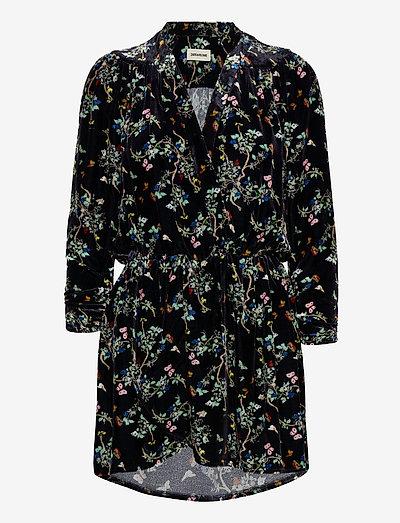 REVEAL VELVET BLOSSOM DRESS - festkjoler - black
