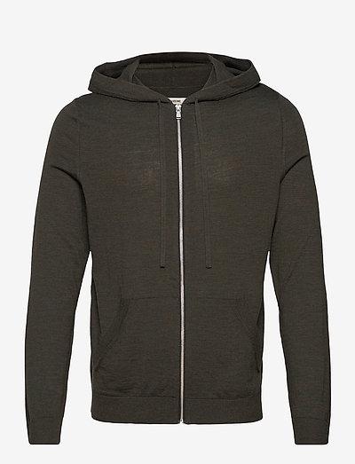 CLASH M PATCH FLASH HOODIE ZIP INTARSIA COUDES - basic sweatshirts - beige