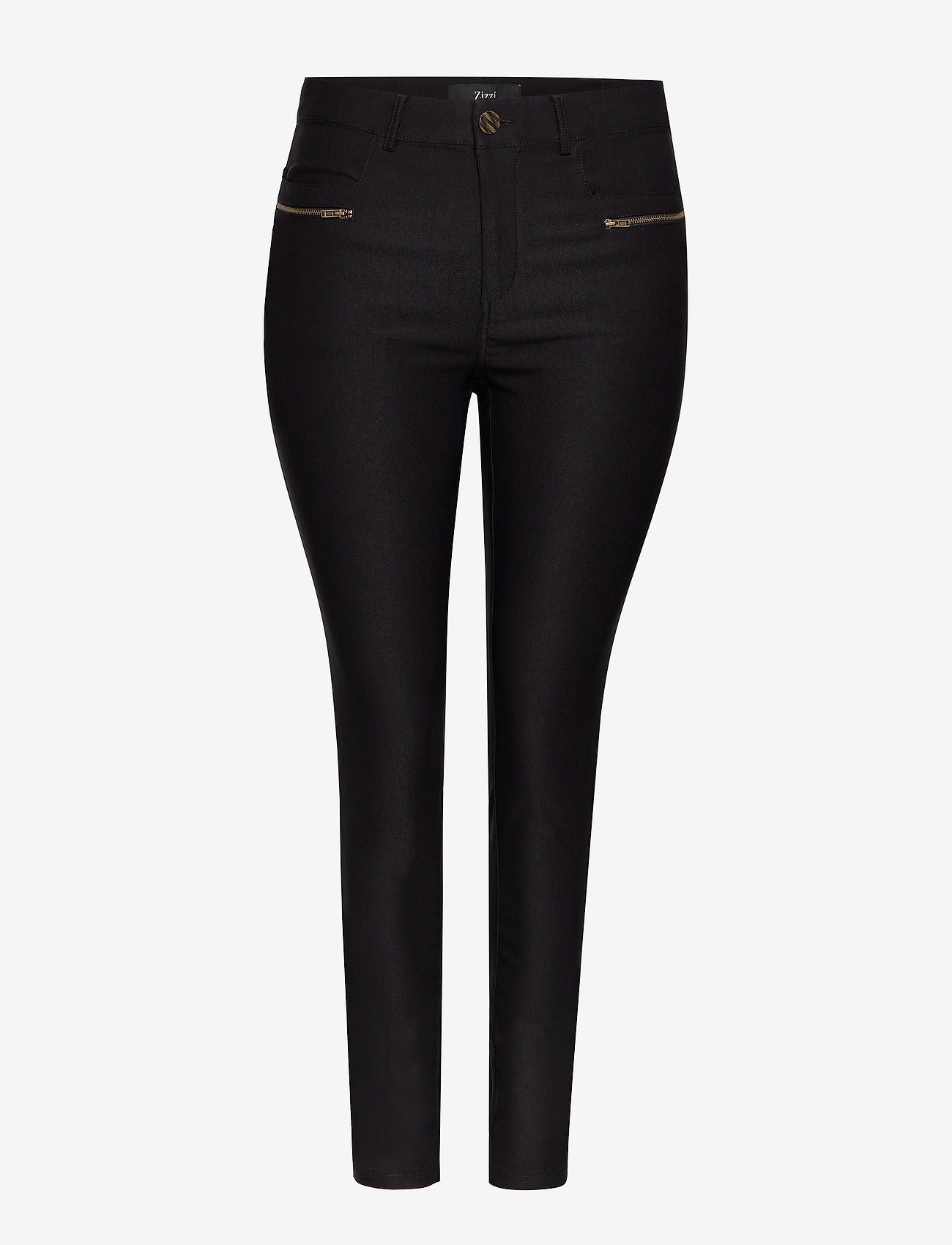 Zizzi - Trousers Plus Size Slim Fit Stretch - slim fit bukser - black - 0