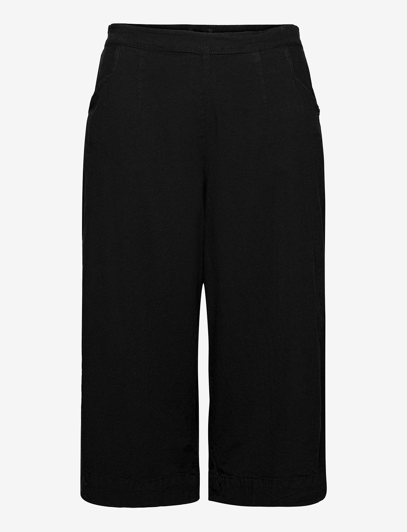 Zizzi - Trousers Culotte Plus Size Loose Fit Elastic Waistband - bukser med brede ben - black - 0