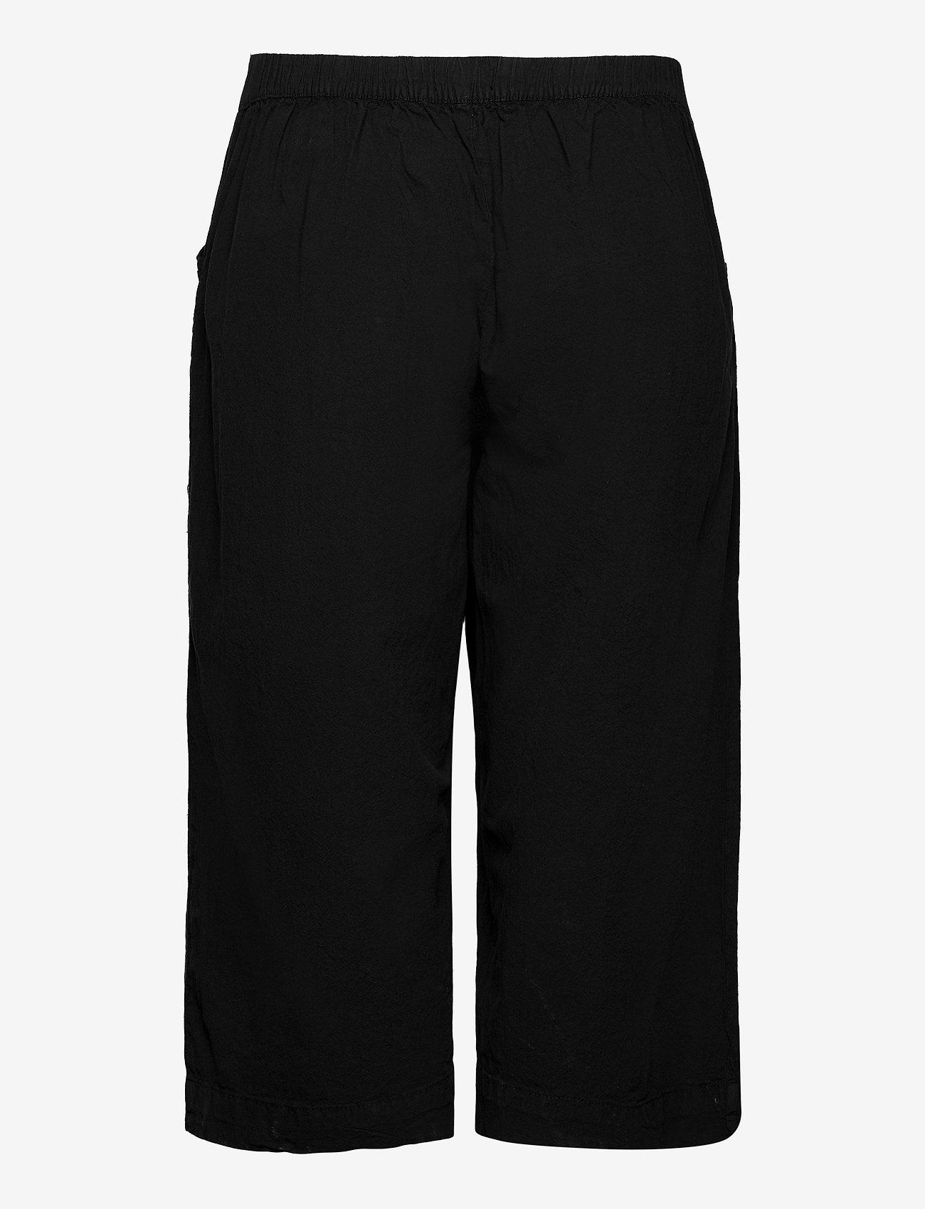 Zizzi - Trousers Culotte Plus Size Loose Fit Elastic Waistband - bukser med brede ben - black - 1