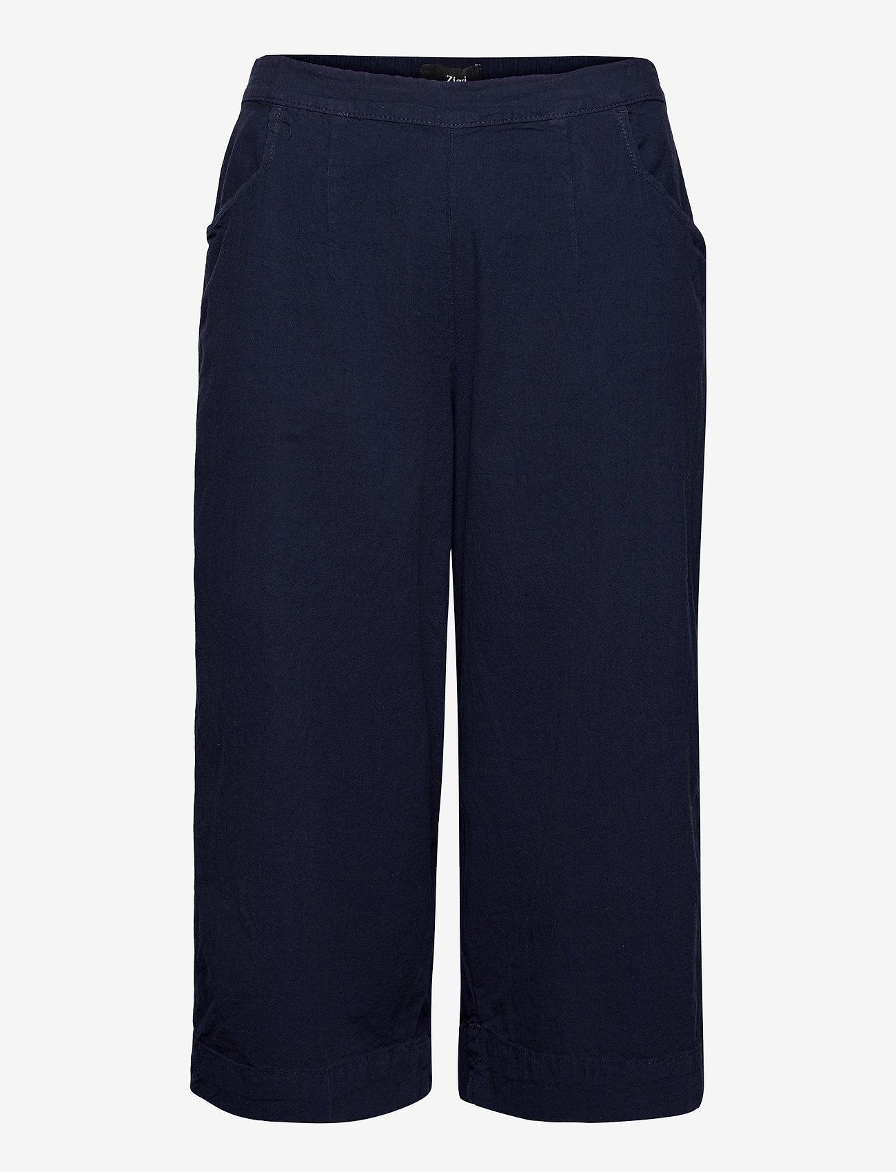 Zizzi - Trousers Culotte Plus Size Loose Fit Elastic Waistband - bukser med brede ben - dark blue - 0