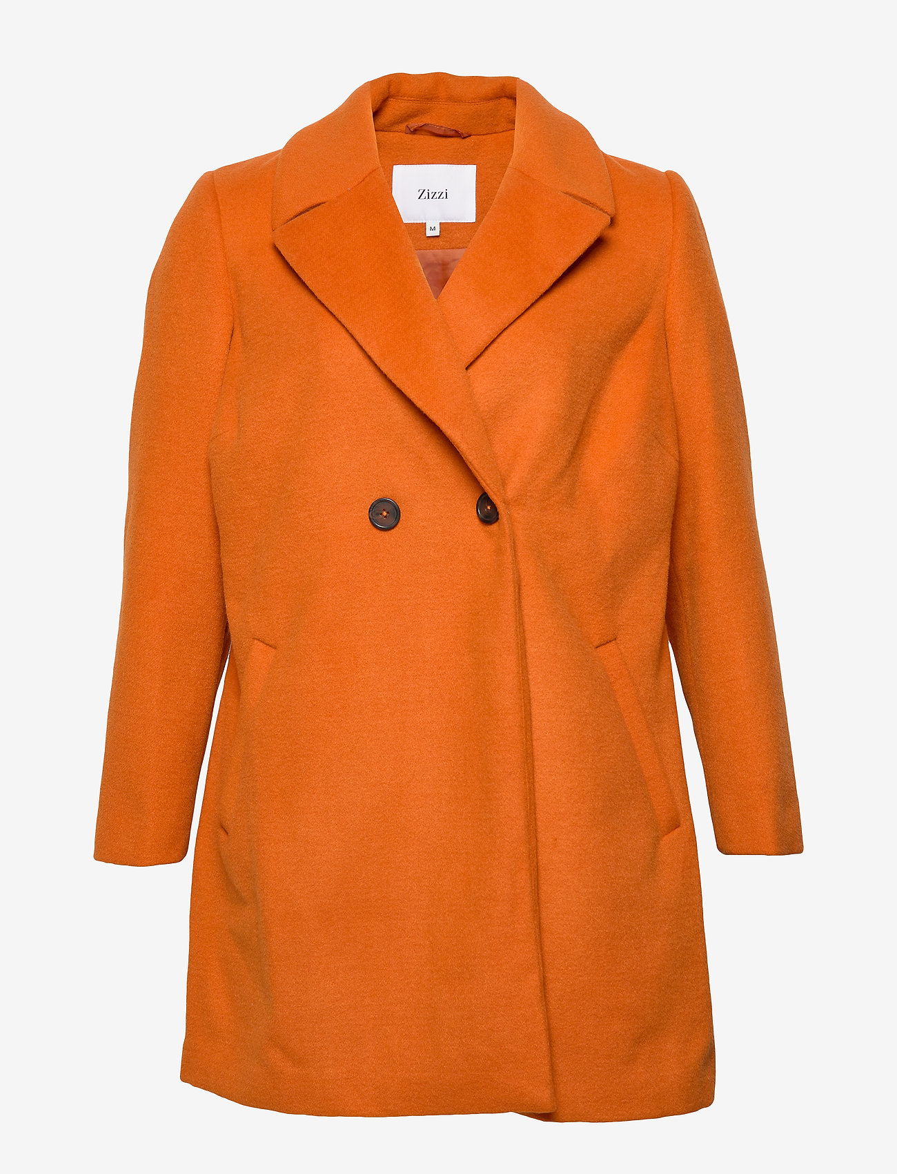 Zizzi - Jacket Collar Plus Size Pockets Buttons - wool jackets - dark orange - 0