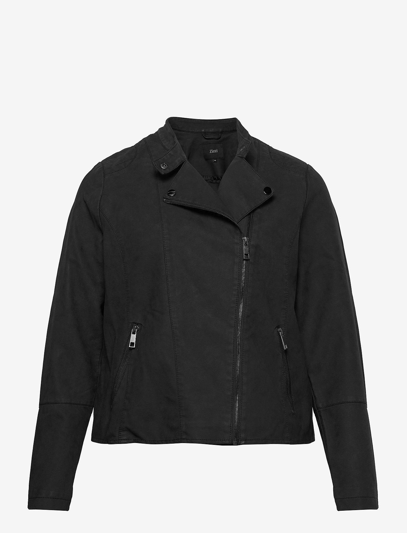 Zizzi - Faux Suede Jacket Plus Size Zipper Collar - lichte jassen - black - 1