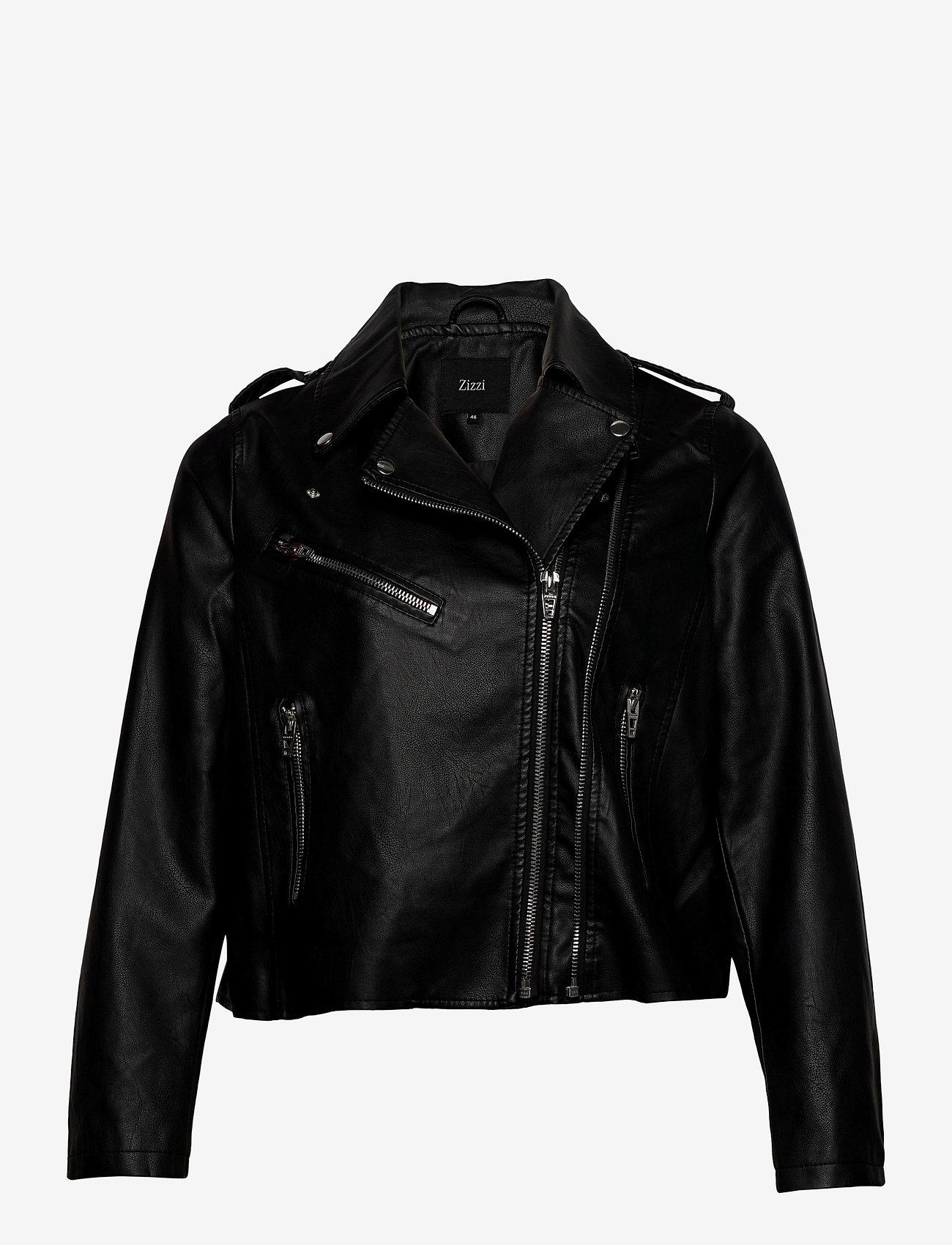 Zizzi - Biker Jacket Plus Size Zipper Pockets - skinnjackor - black - 0
