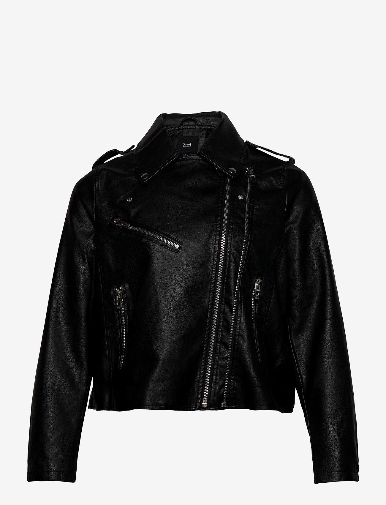 Zizzi - Biker Jacket Plus Size Zipper Pockets - skinnjackor - black - 1