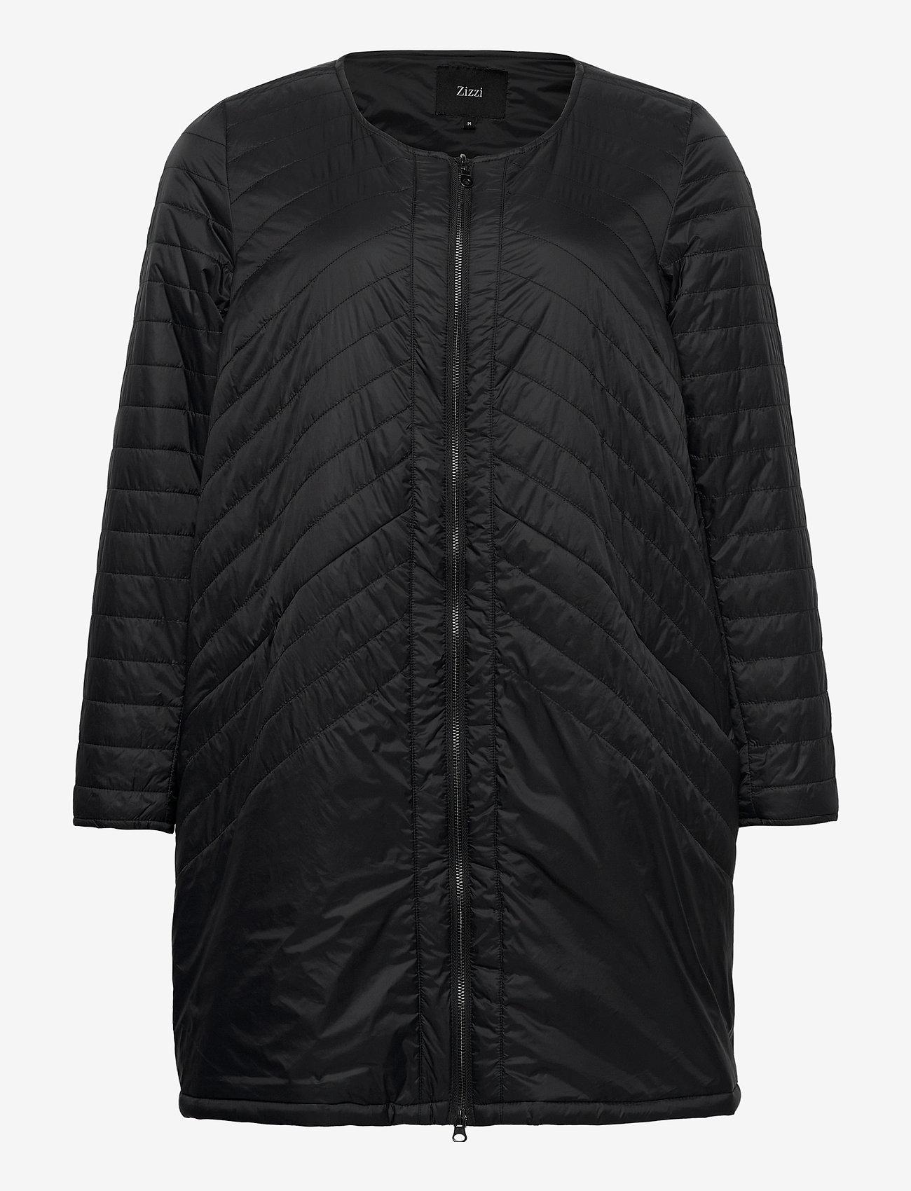 Jacket Quilted Plus Size Zip Round Neck (Black) (63.99 €) - Zizzi sHAYp