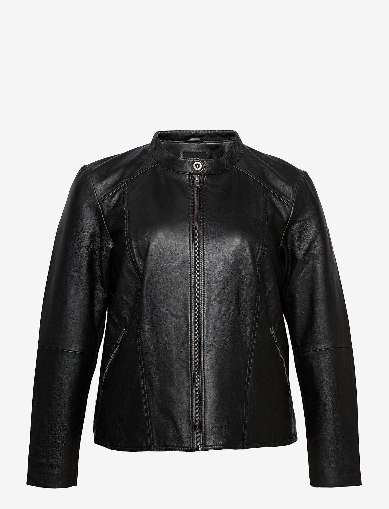 Zizzi - Leather Jacket Plus Size Pockets Zip Close-Fitting - skinnjackor - black - 1