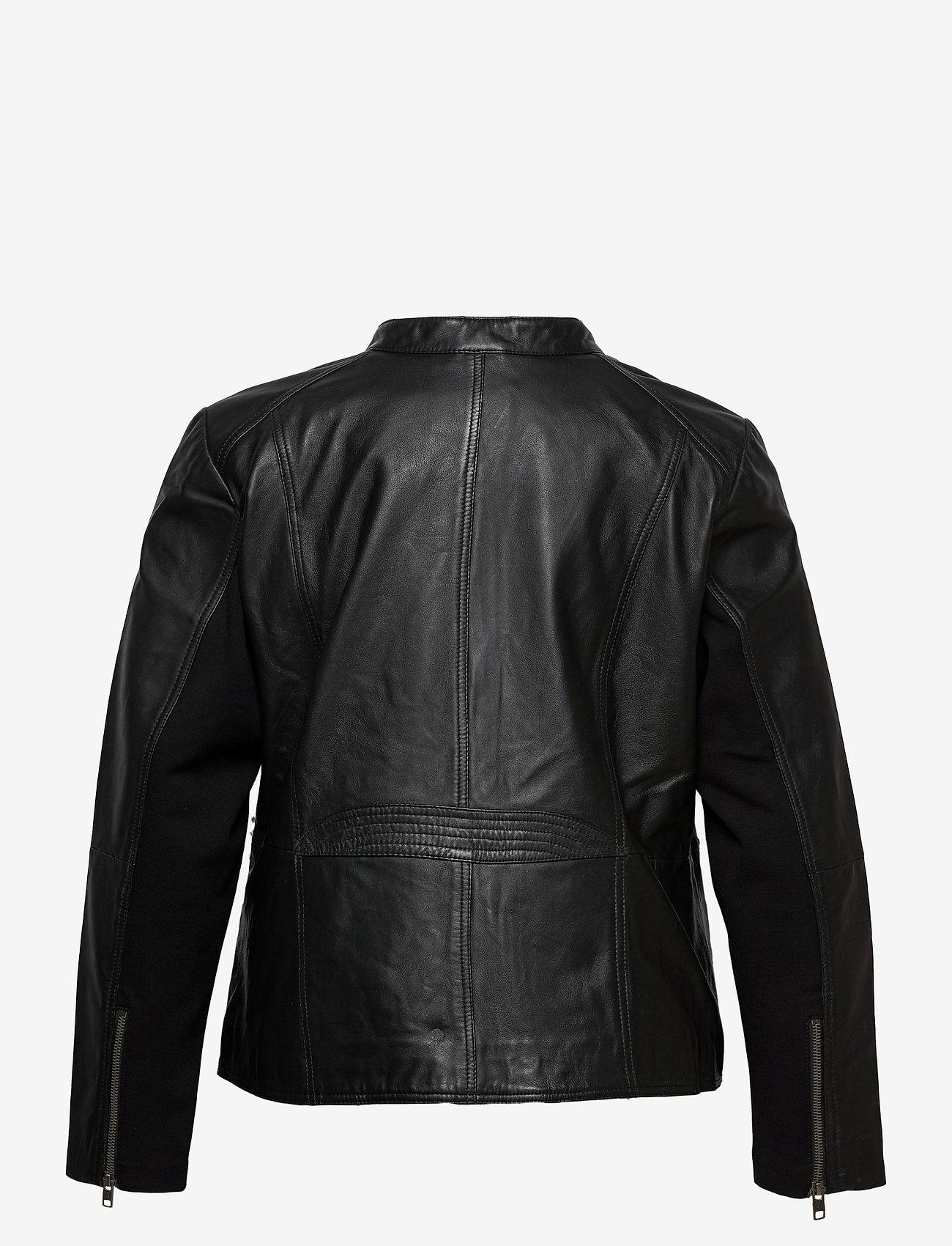 Leather Jacket Plus Size Pockets Zip Close-fitting (Black) (254.99 €) - Zizzi exhyi