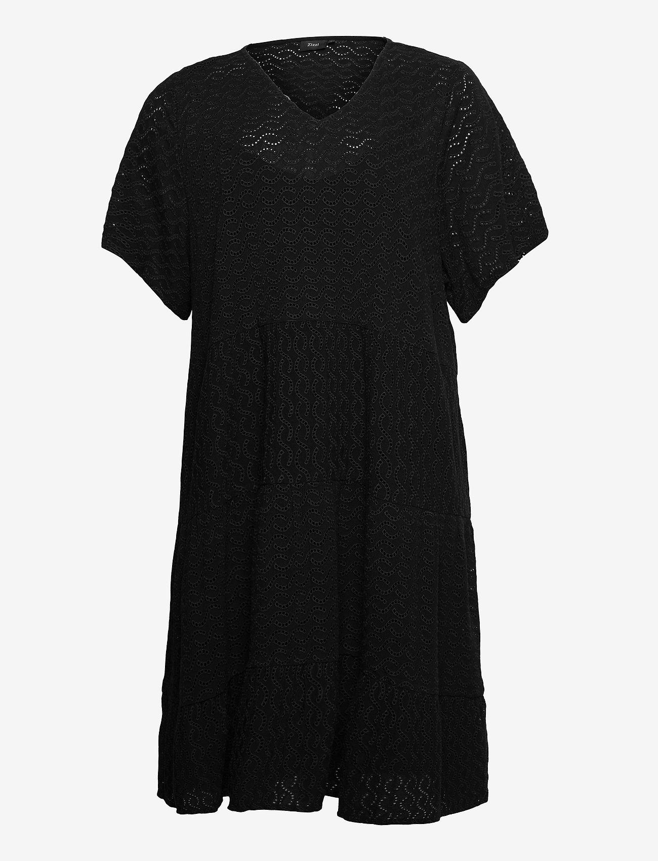 Zizzi - MANNE, S/S, KNEE DRESS - sommerkjoler - black - 0