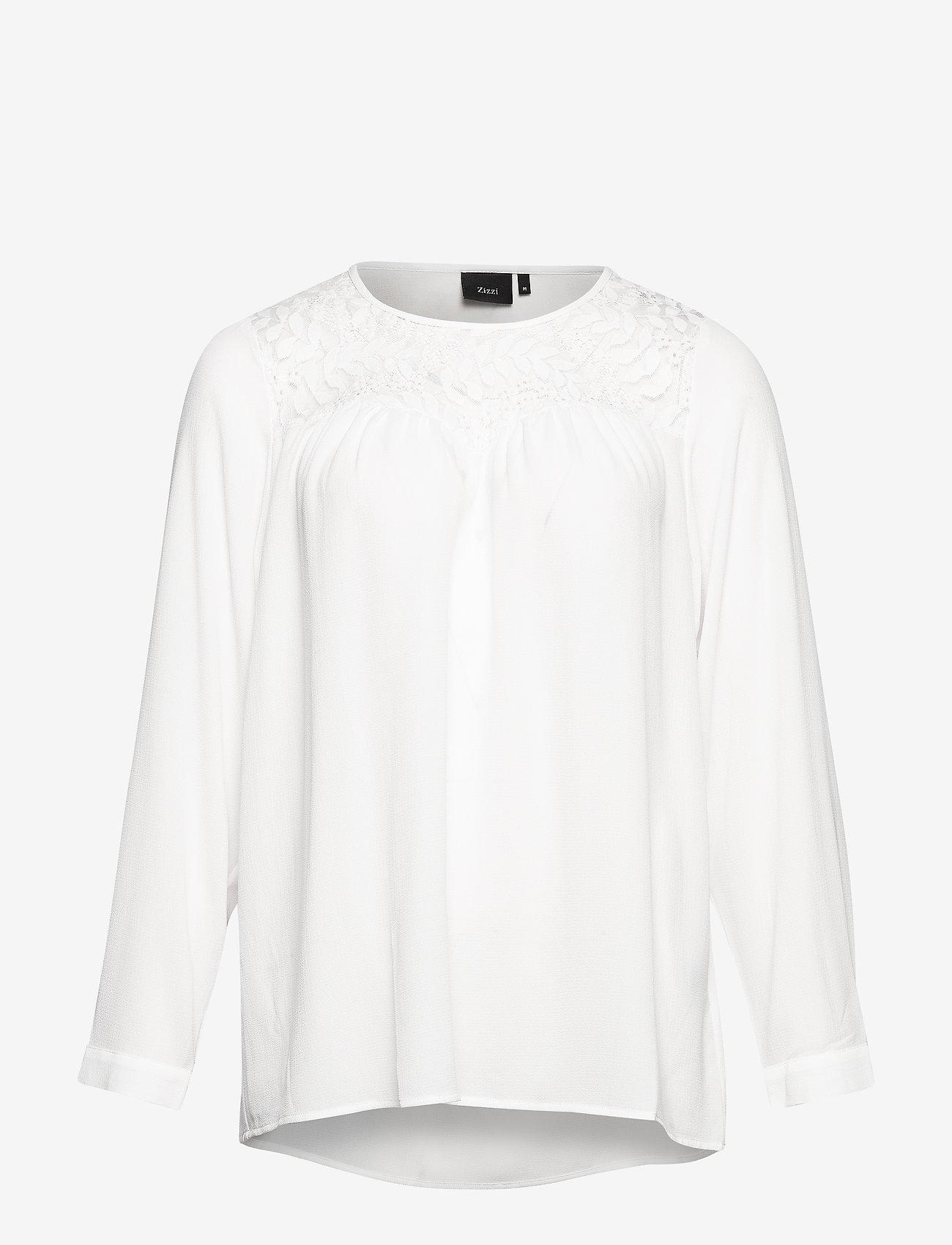 Zizzi - Blouse Lace Detail Plus Size Round Neck - blouses à manches longues - off-white - 0