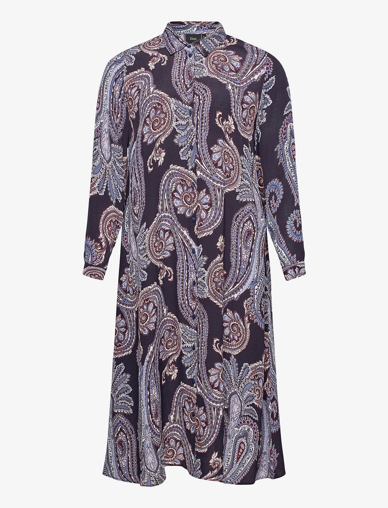 Zizzi - Dress Print Plus Size Long Sleeves Collar - alledaagse jurken - dark blue - 0