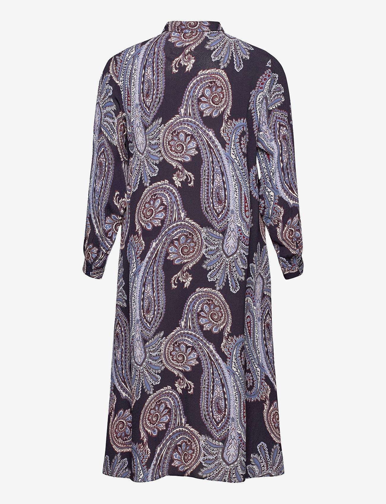 Zizzi - Dress Print Plus Size Long Sleeves Collar - alledaagse jurken - dark blue - 1