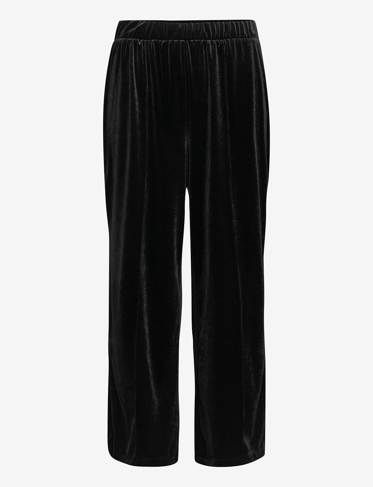 Zizzi - Pants Velvet Plus Size Loose Fit Elastic Waistband - shorts casual - black - 0
